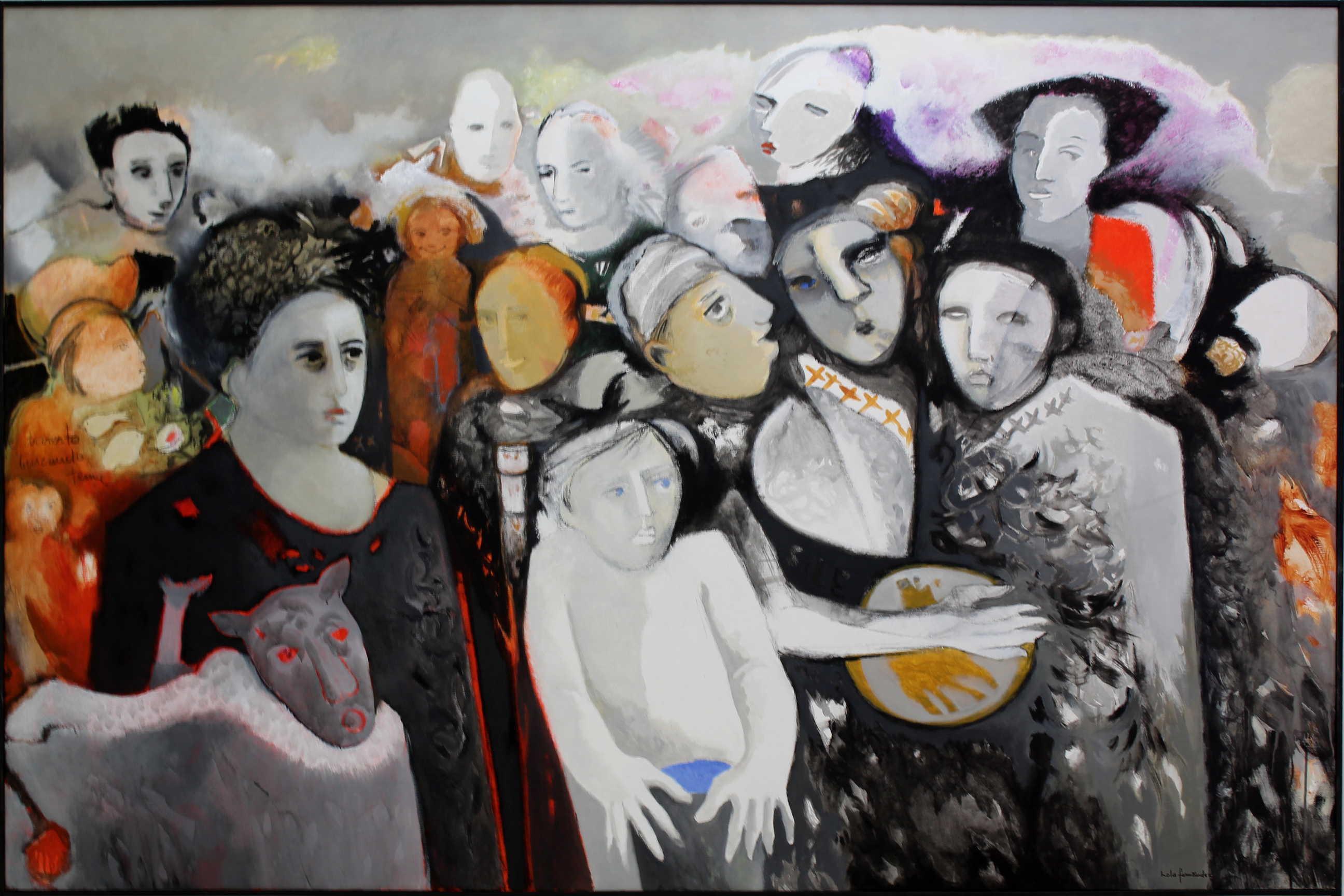 """Obra de la artista Lola Fernández llamada """"Muchedumbre en la tarde"""", acrílico sobre tela, año 2000. Fotografía: Adriana Araya."""