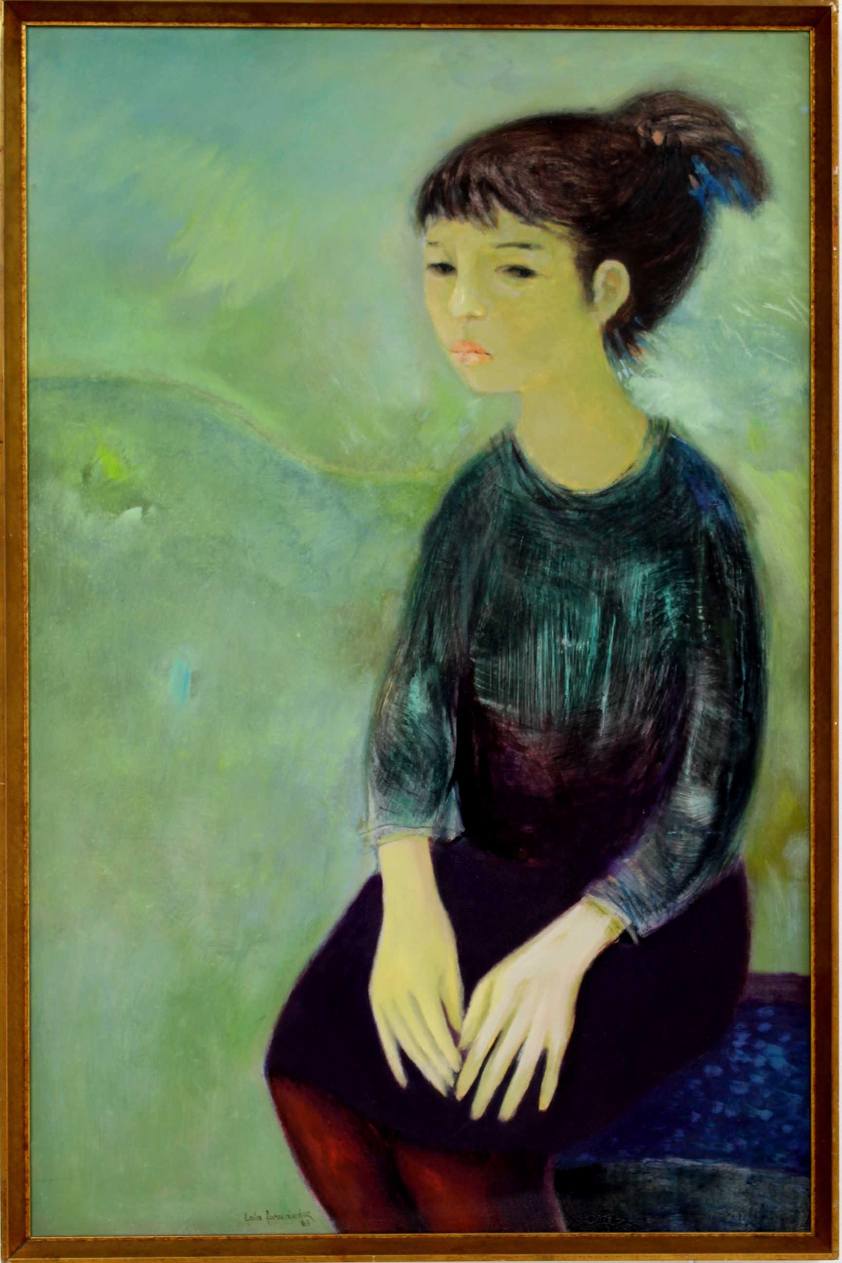 """Obra de la artista Lola Fernandez llamada """"La Adolescente"""" de la serie Retratos, óleo sobre aglomerados de madera, año 1963. Fotografía: Adriana Araya."""