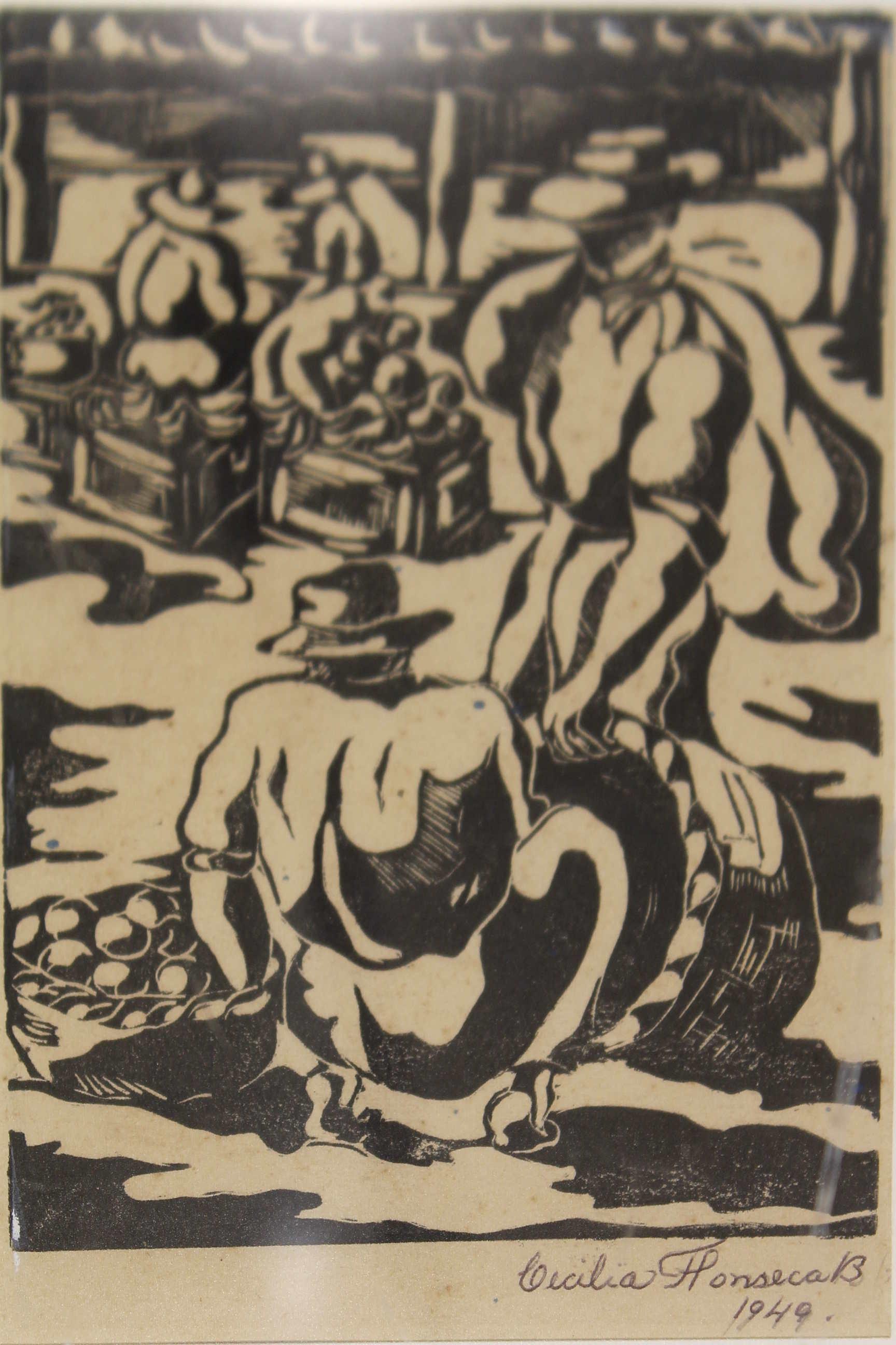 Obra de la artista Cecilia Fonseca Boraschi, grabado 1964. Fotografía: Adriana Araya.