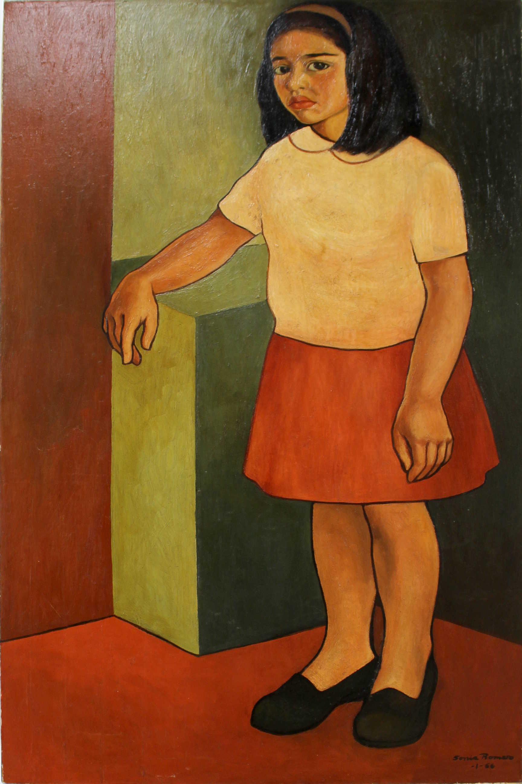 Obra de Sonia Romero Carmona, retrato de Floria Benavides Romero, óleo, año 1964. Fotografía: Adriana Araya.