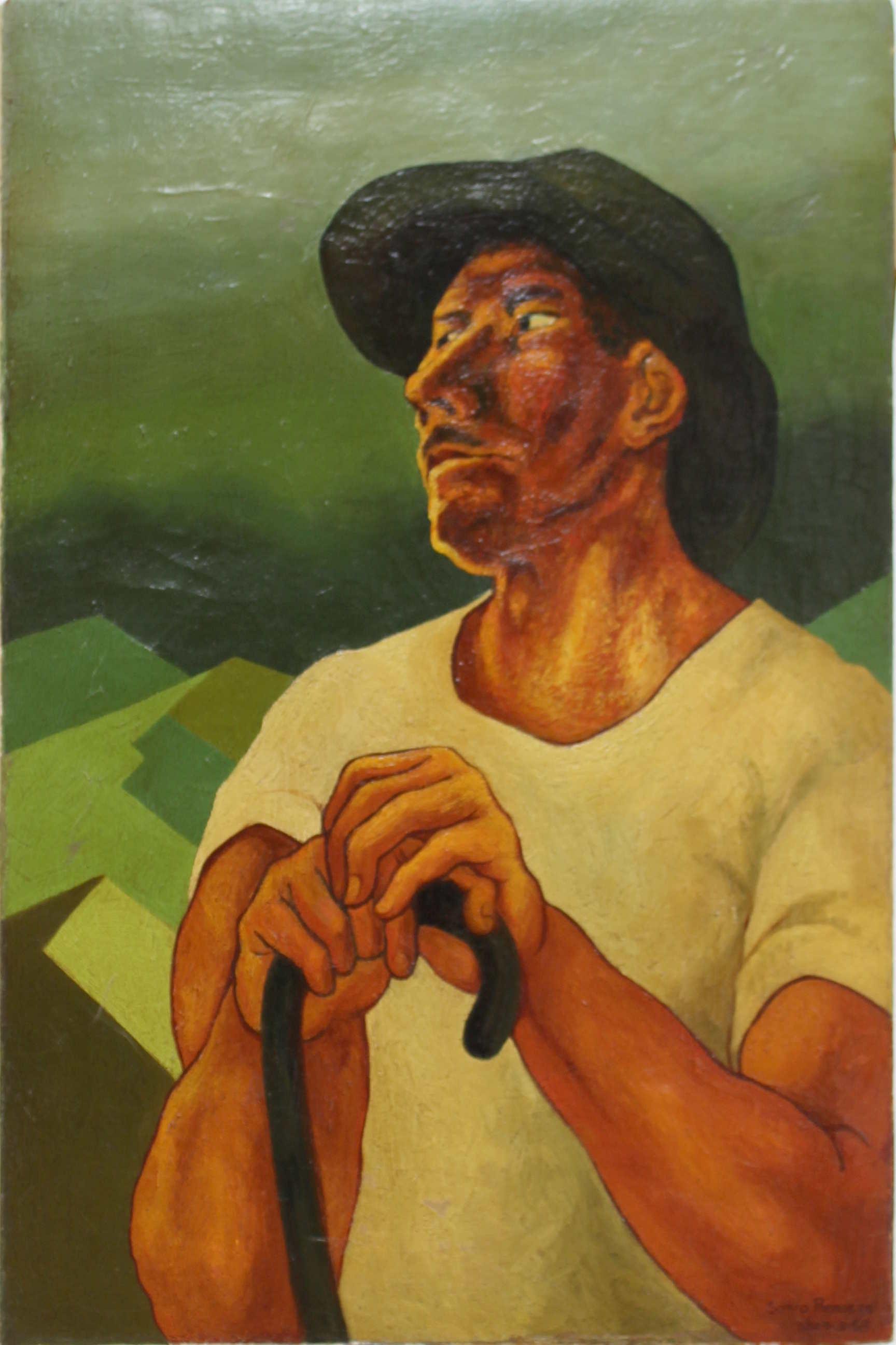 Obra de Sonia Romero Carmona, retrato de Amadeo el jardinero, óleo, año 1970. Fotografía: Adriana Araya.