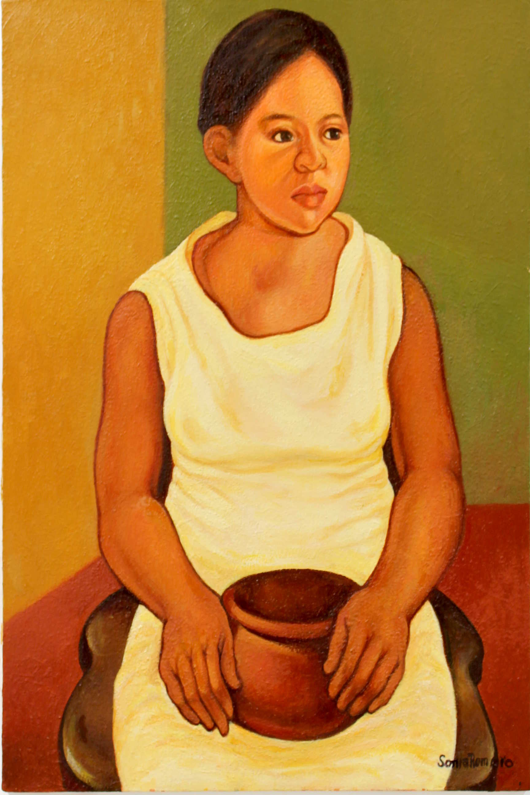 Obra de Sonia Romero Carmona, retrato de Paulita, óleo, Año 2017. Fotografía: Adriana Araya.