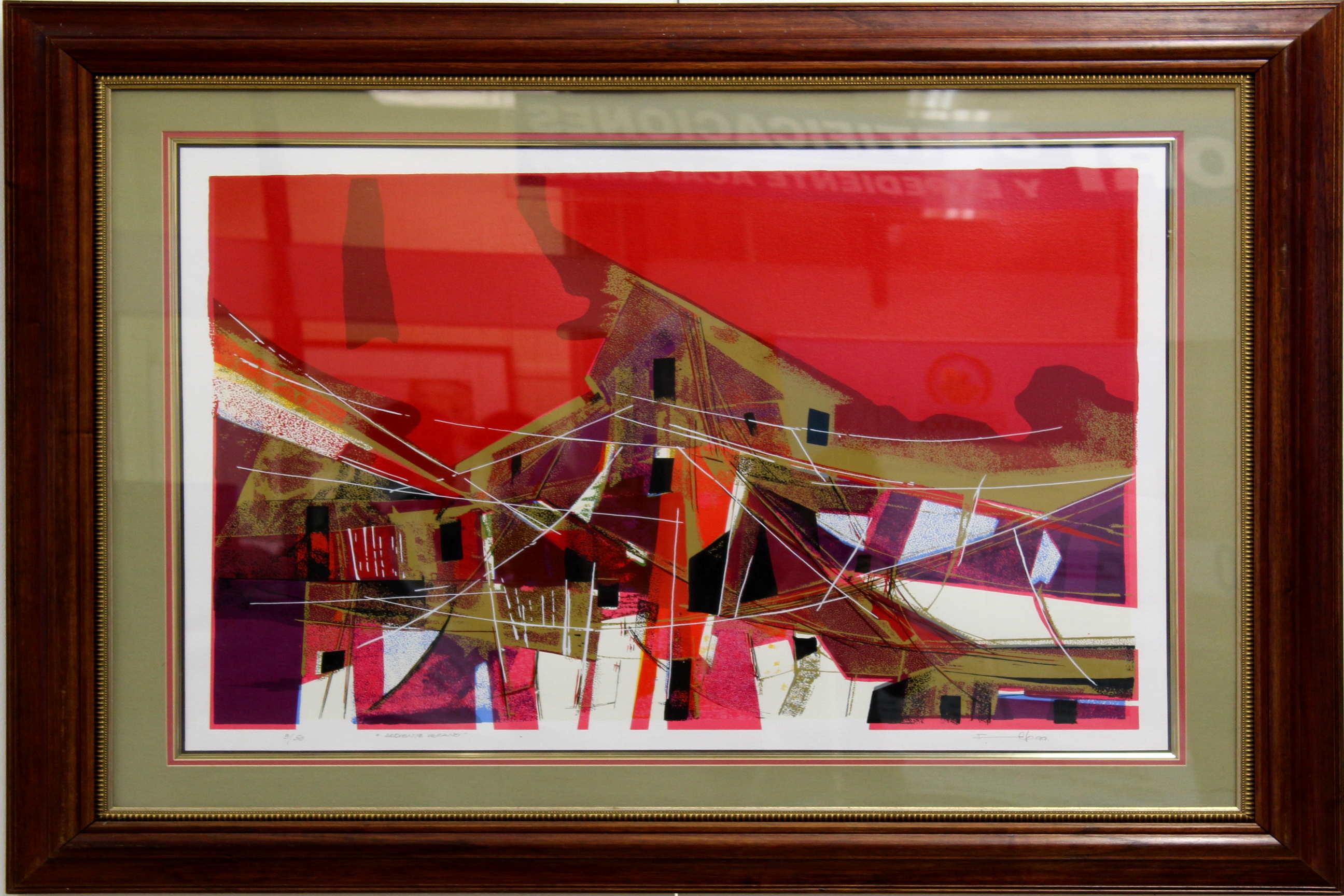 """Obra de Rafael Ángel García Picado, llamada 3/50 """"Ardiente Verano"""", serigrafía Año 1999. Fotografía: Adriana Araya."""