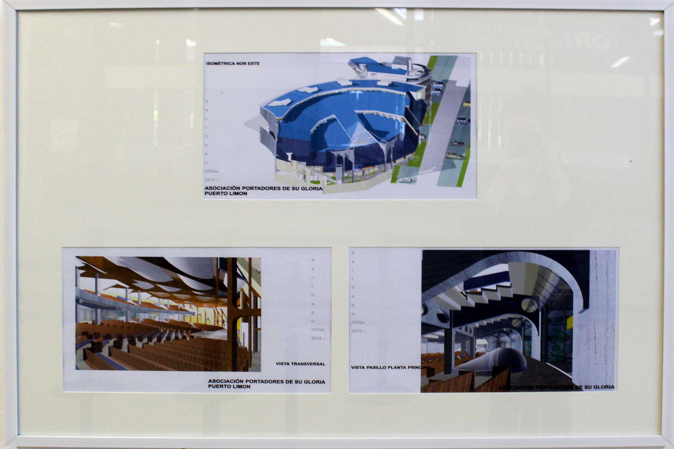 "Obra de Jorge Bertheau Odio, llamada ""Iglesia Cristiana en Limón"" , técnica utilizada Vector Works 8-computadora. Fotografía: Adriana Araya."