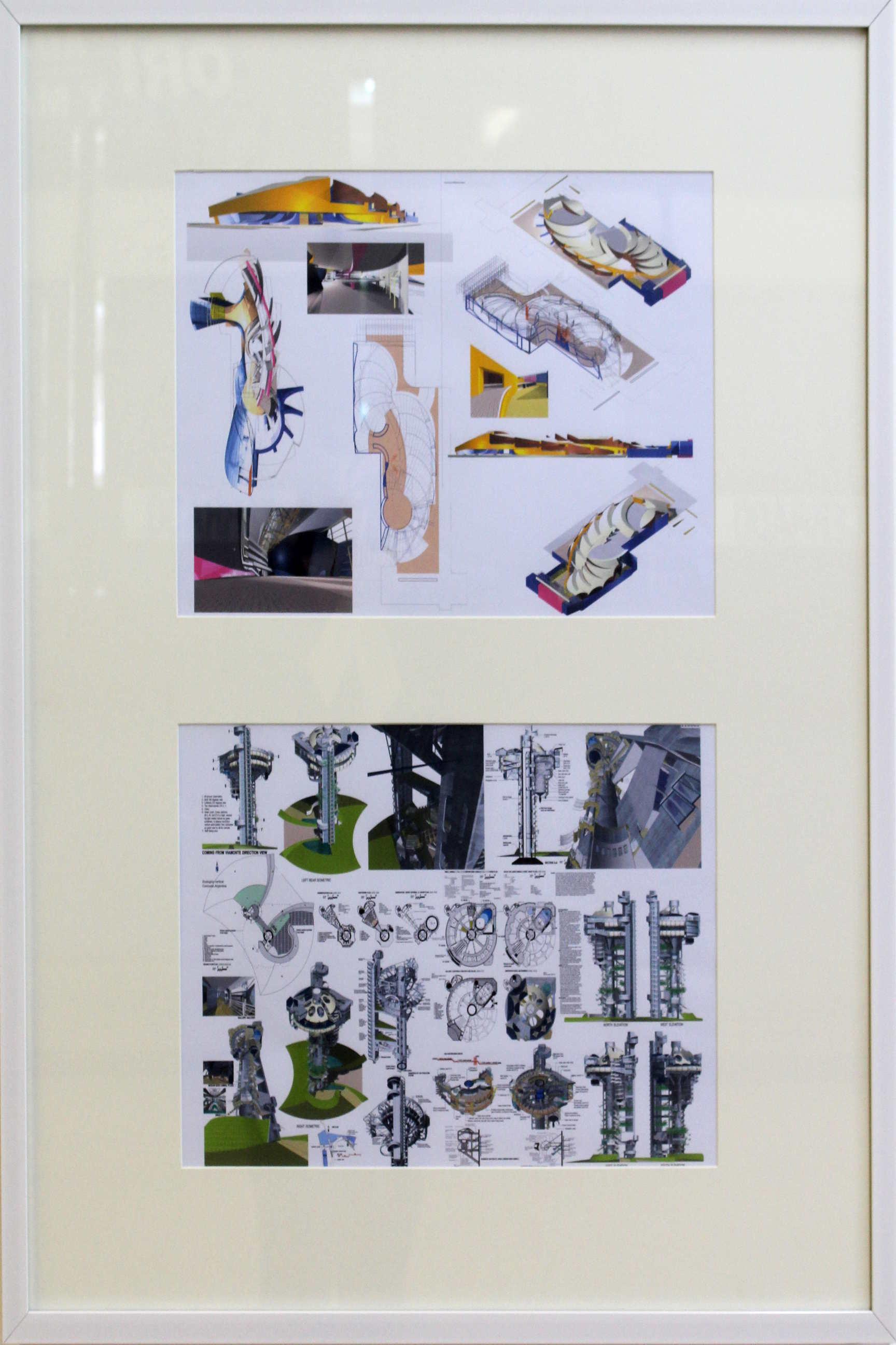 """Obra de Jorge Bertheau Odio, llamada """"Apunte pre concurso para la Biblioteca de México D.F, técnica utilizada Vector Works 8 -computadora. Fotografía: Adriana Araya."""