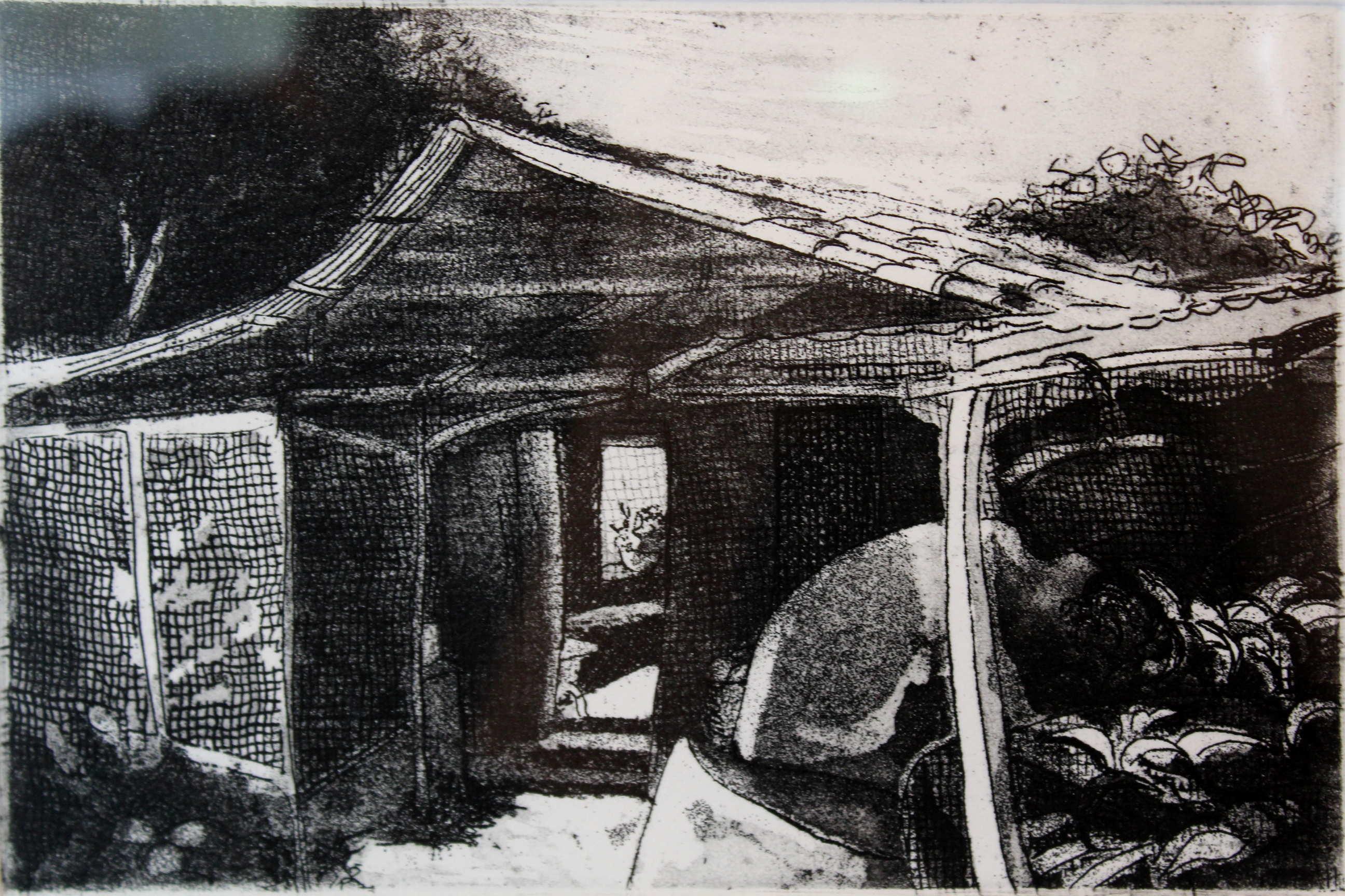 """Obra de Luis Paulino Delgado, """"Sin Título"""", hecha en 1987 , grabado en metal. Fotografía: Adriana Araya."""