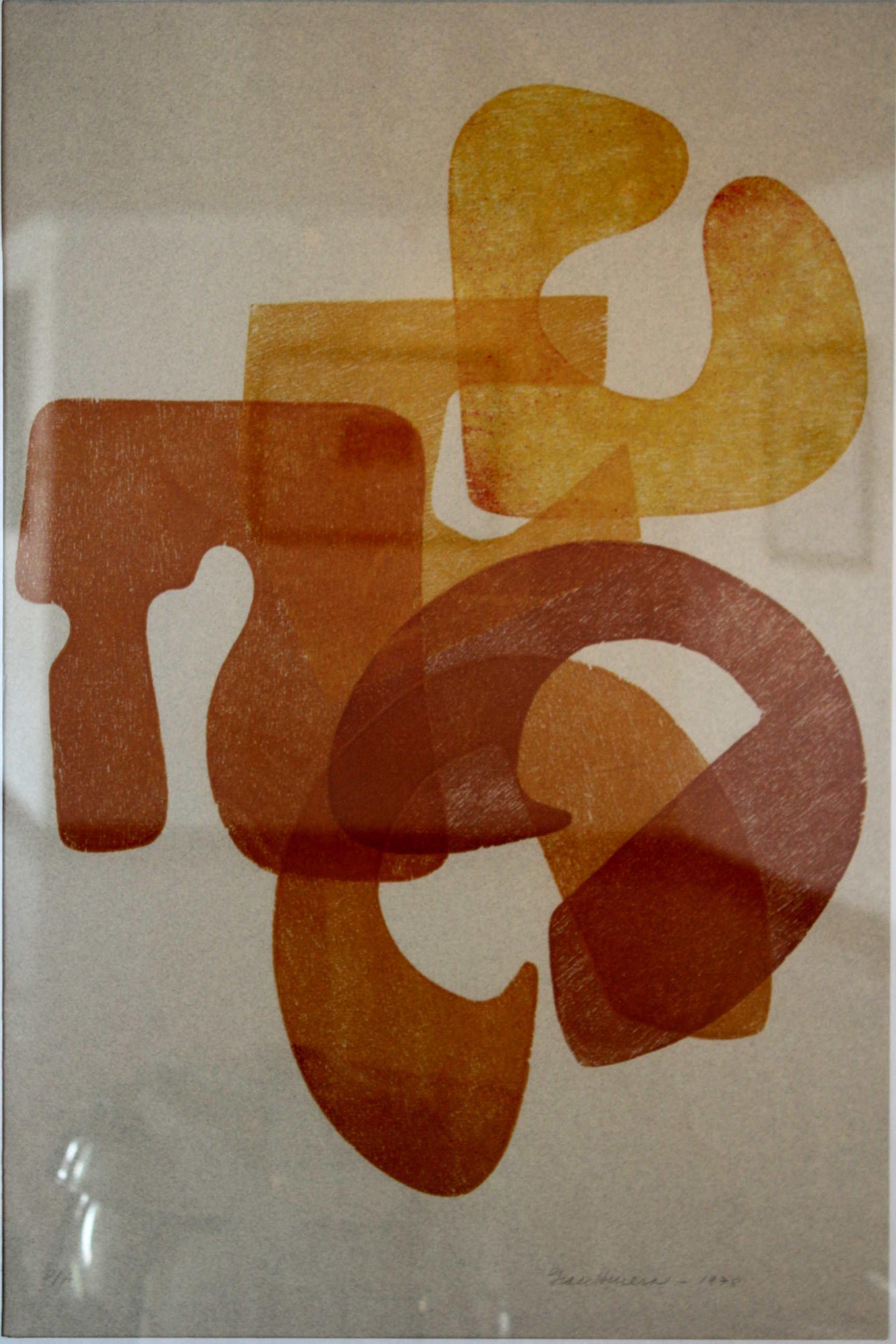 """Obre de Grace Herrera, """"Sin título"""", hecha en 1978, técnica utilizada xilografía. Fotografía: Adriana Araya."""