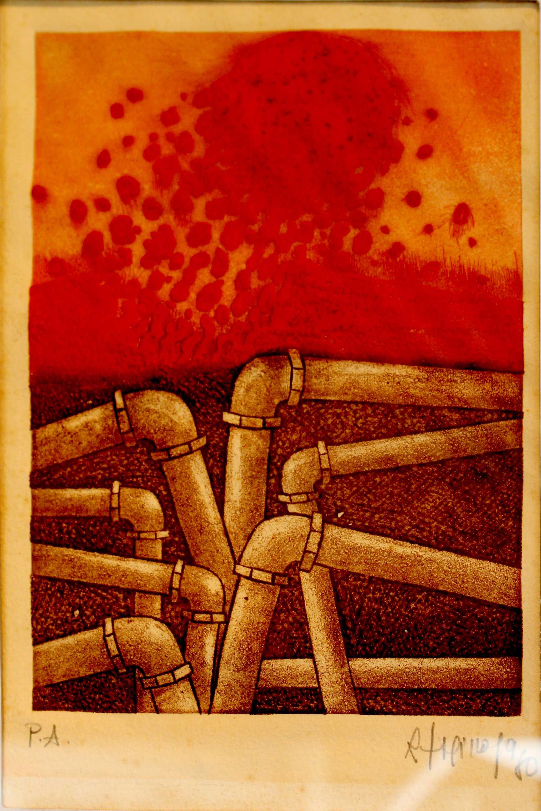 Obra de Rudy Espinoza, sin título, año 1980, técnica Grabado sobre metal.  Fotografía: Adriana Araya.