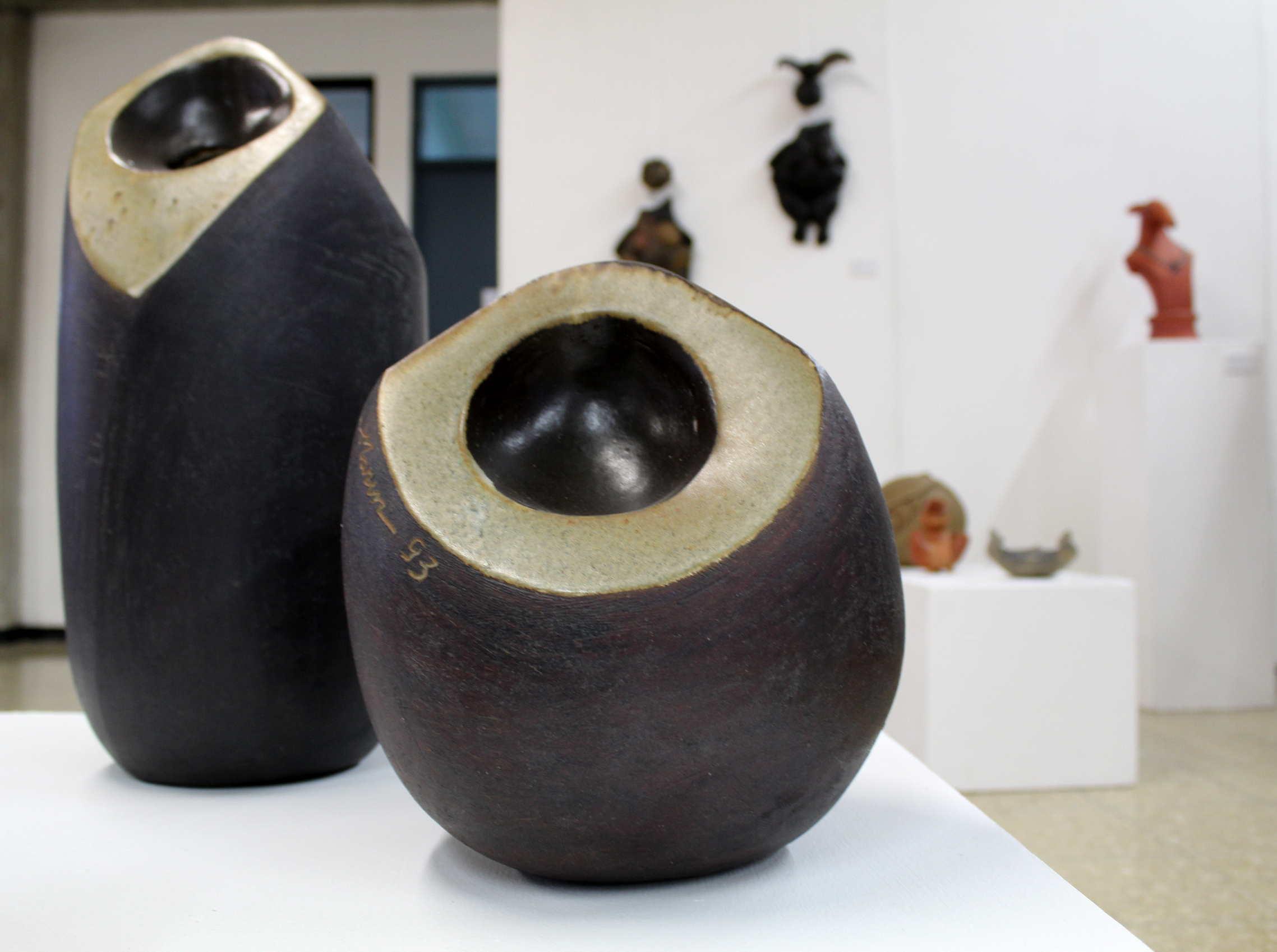 """Obra de Xinia Marín, llamada """"Cocos"""", técnica utilizada torno intervenido, año 1993. Fotografía: Adriana Araya."""