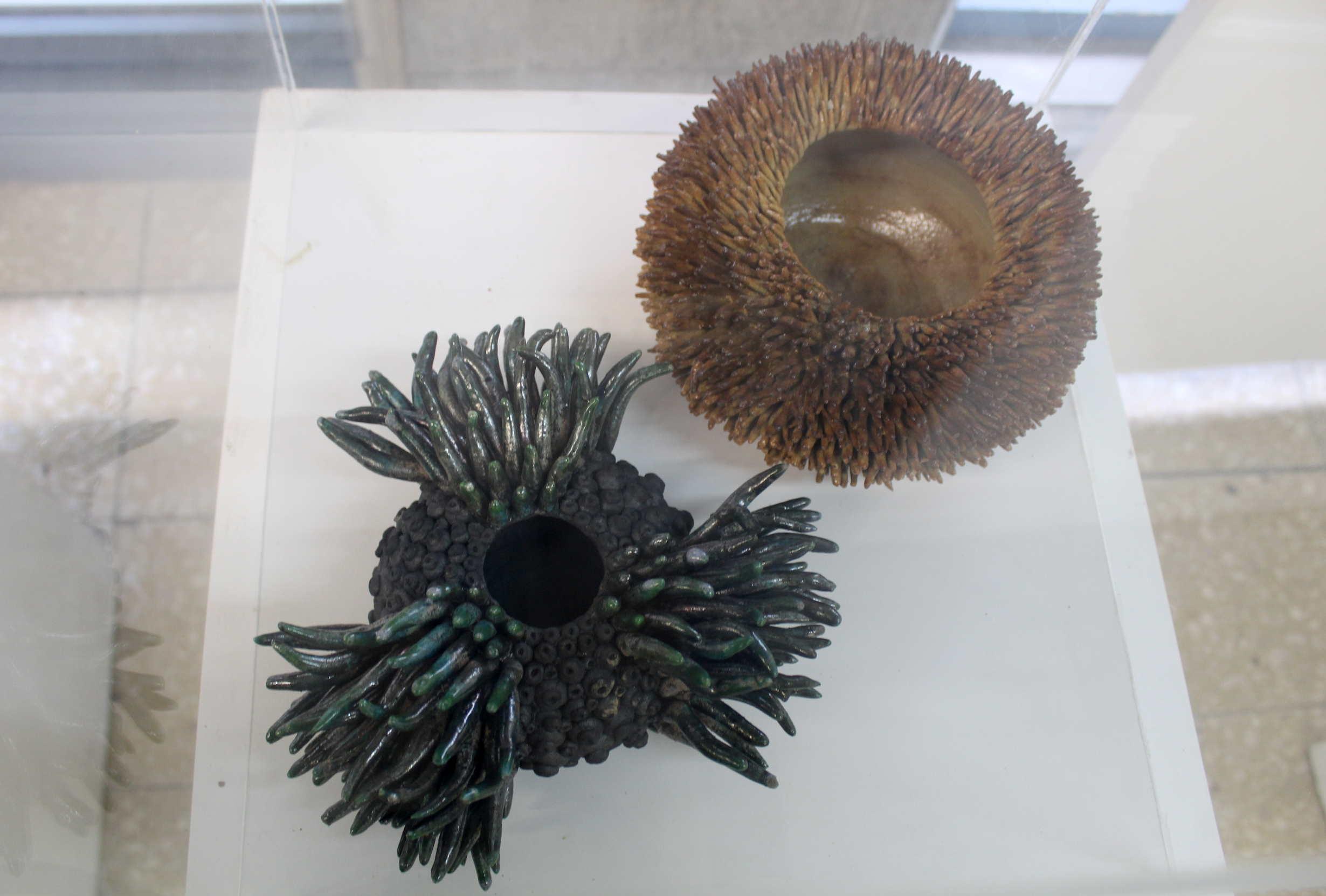 """Obras de Raquel Rodríguez, llamada """"Echinoidea"""", técnica utilizada torno y modelado, baja temperatura, años 2012,2014 y 2016. Fotografía: Adriana Araya."""