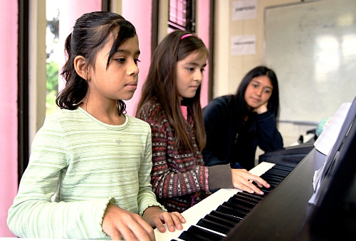 Niñas pianistas.