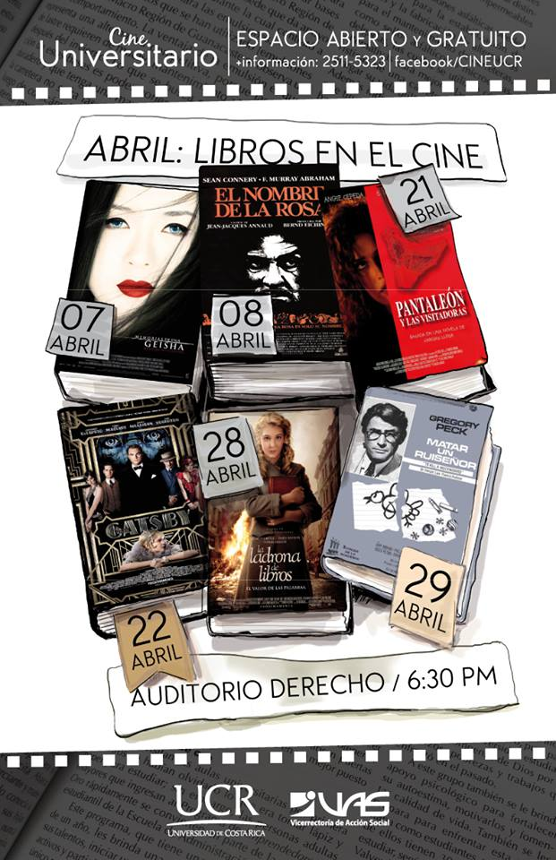 Afiche del cine universitario en Abril