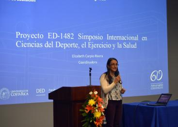 Presentación del proyecto ED-1482: Simposio Internacional en ciencias del deporte, el ejercicio y la Salud. Fotografía: Laura Camila Suárez