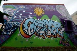 Un grupo de cinco jóvenes del centro penitenciario aprendió la técnica del grafiti para realizar el mural principal mediante el uso de metáforas. Foto: Semanario Universidad.