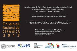 28 de octubre a las 7:00 p.m. se inaugura la Trienal Nacional de Cerámica, en el Museo Calderón Guardia