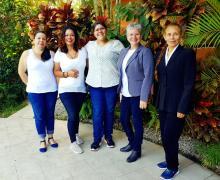 Mariam Vargas, responsable del proyecto y mujeres de la comunidad de San Ramón expusieron el trabajo de la Red de Mujeres.